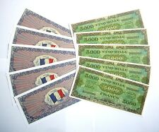 "SET DE 10 BILLETS - 5000 Francs ""Allied Military Currency"" (REPRODUCTION)"