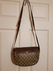 Gucci Vintage GG Supreme Coated Canvas & Trim Leather Cross Body - Shoulder Bag