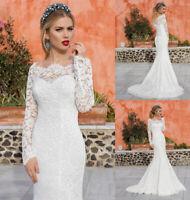 White Mermaid Wedding Dresses Full Lace Long Sleeve Bridal Gown Ivory Boat Neck