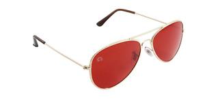 Red Aviator Mood-Boosting Sunglasses with Protective Chakra Bag