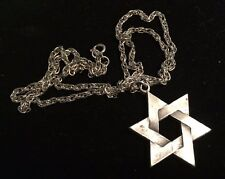 "Pewter Star Of David Necklace 24"" Silver Chain Judaica Mens Womens Unisex"