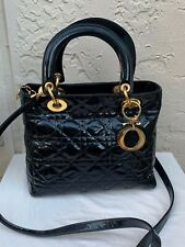 CHRISTIAN DIOR LADY DIOR CANNAGE BLACK PATENT LEATHER BAG