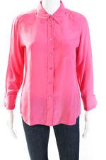 Equipment Femme Womens Silk Long Sleeve Button Down Blouse Pink Size Small