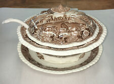 Vintage Adams England Staffordshire English Scenic Soup Tureen with Lid & Ladle