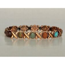 """7.5"""" COPPER MAGNETIC BRACELET WITH X O DESIGN MAGNET IN EVERY LINK NEW 5408"""