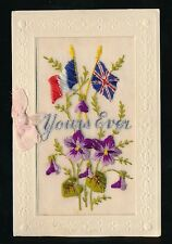 Embroidered Silk WWI Yours Ever + Flags & bow & flowers typed letter card