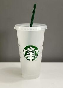 UK Starbucks Logo Reusable Plastic Cold Cup with Straw, 24 fl oz (BRAND NEW)