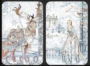 Swap Playing Cards. 2 Single Cards. Snow Scene. Modern Blank Back.