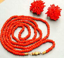 Feine Jugendstil Korallenkette Mit Goldverschluss tonnenförmig