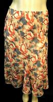 Metrowear beige red floral crochet-trim waist women's plus size ruffled skirt XL