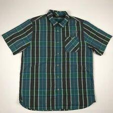 The North Face Mens Short Sleeve Blue Multi-Color Plaid Button Front Shirt sz XL