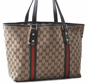 Authentic GUCCI Sherry Line Shoulder Tote Bag Canvas Leather Brown C2460