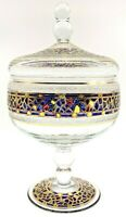 """Vintage 9 1/2"""" Candy Dish, Clear With Gold Trim And Stained Glass Effect, Gaudi"""