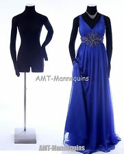 Female mannequin w. pinnable flexible arms + hands display black dress form -Rh