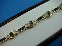 15CT Princess Cut Blue Sapphire & Diamond 14k Yellow Gold Over Tennis Bracelet
