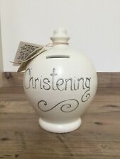 Cream Terramundi Money Pot Mad - Christening With First Coin - New/Labels No Box