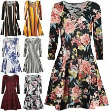 Womens Floral 90'S Eyelet Detail Mini Dress Womens Lace Up V Neck Swing Dress