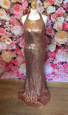 Rose Gold Bronze Copper Alexia Full Dress Sequin Gown Prom Ball Occasion 12