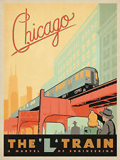 Chicago L Train Vintage Art Deco Poster 11 x 17 Giclee Print