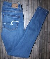 AMERICAN EAGLE SUPER STRETCH MEDIUM WASH LOW RISE JEGGING SIZE 2 LONG