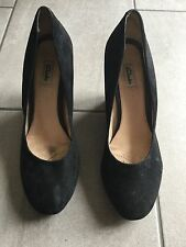 Clarks Ladies Black Suede Wedge Heel Shoes Size 7. Good Condition.