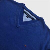 Mens Tommy Hilfiger V Neck Jumper XL Blue Cotton