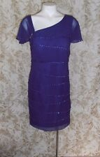 JJ'S HOUSE Sz 10 dark purple layered beaded pencil formal wedding Dress
