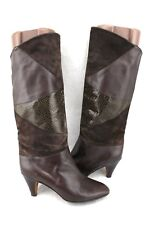 MONTEBELLO Italy Brown Lizard Embossed Leather Vintage Mid Calf Heels Boots 7 38