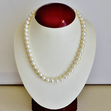 PEARL NECKLACE 43.5cm CULTURED FRESHWATER PEARL STRING 9mm PEARLS SILVER CLASP