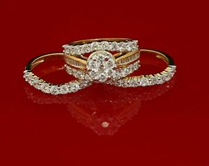 10K Yellow Gold finish lab Created Diamond Silver Ring In SIZE 9