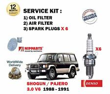 FOR MITSUBISHI SHOGUN PAJERO 3.0 V6 1988-1991 OIL AIR FILTER + SPARK PLUGS SET