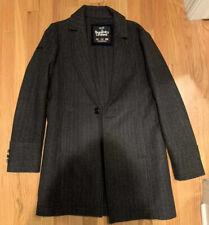 Superdry Men's Herringbone Topcoat Size Medium Dark Grey Slim Fit