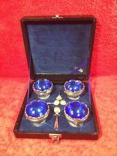 Gorgeous Set of 4 Open Salts & Spoons In Original Presentation Box, m56