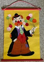 Colorful Vintage 60s 70s Circus Hobo Clown Felt Art Wall Hanging Kitsch Modern
