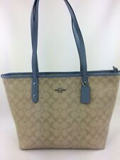 New Coach F58292 Signature City Zip Tote Handbag Purse Shoulder Bag L.Khaki Blue