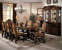 NEO RENAISSANCE FORMAL ELEGANCE RICH CHERRY BURL FINISH WOOD DINING TABLE SET