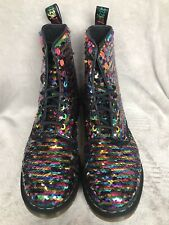 Dr Doc Martens Pascal Rainbow Reversible Sequin Boots Uk Size 6 LGBTQ In Box