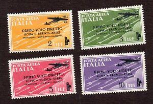 REGNO - 1934 - POSTA AEREA Volo Roma / Buenos Aires - Serie 4 valori linguellati