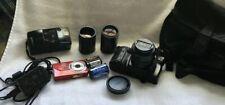 Assorted Cameras, Lenses , Bag ,Film- Minolta, Olympus, Kodak
