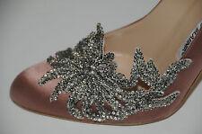Nuevo Manolo Blahnik Cisne Satén Nude Zapatos de Boda de Novia con Cuentas 41