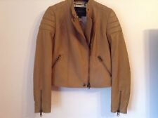BNWT 100% Auth COACH, Ladies Tan Brown Leather Biker Jacket. S/M RRP £1200