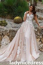 Blush Long Train Lace Appliques Wedding Dress A Line Church Bridal Gown Elegant