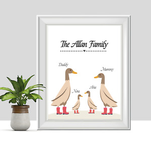 Personalised Duck Family Print, Housewarming New Home Gift, Wellies, Family Name