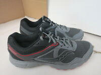 MENS SAUCONY GRID COHESION 10 GRAY BLACK RED RUNNING SHOES SIZE 11.5M A50