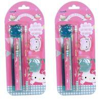 2x Hello Kitty Schreibset Lineal Kugelschreiber Radiergummi Anspitzer Bleistift