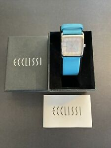 Ecclissi sterling silver 925 blue leather band  watch! New In Box! New Battery!