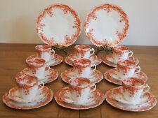 Antique Wileman Foley Pre Shelley Orange 'Fern' Tea Set 9 Tea Cup Trio & More