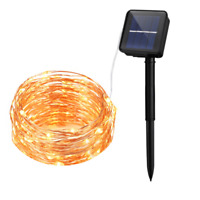 10M 100 LED Solar Powered LED Christmas String Lights Copper Decorative Lights