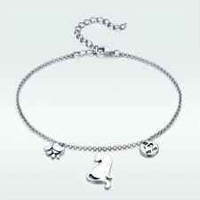 Fashion Jewellery 925 Sterling Silver Ornaments Bangle Cat Bracelet Adjustable