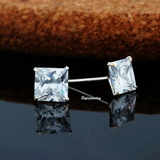 925 Sterling Silver 5MM Princess Cut Wedding Bridal Square Stud Earring IE30